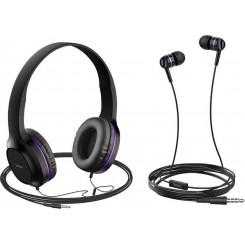 HOCO W24 ENLIGHTEN HEADPHONES AND EARPHONES PURPLE Ακουστικά-Μικρόφωνο